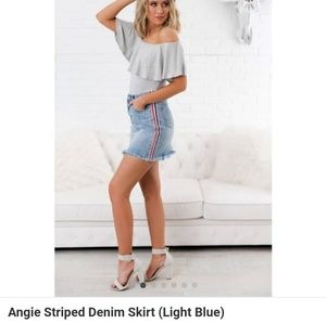 NanaMacs Angie Striped Denim Skirt
